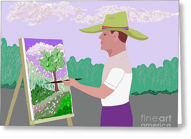 At Work Digital Art Greeting Cards - Outdoor Artist  Greeting Card by Fred Jinkins