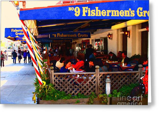 Fishermens Wharf Greeting Cards - Outdoor Dining At The Fishermens Grotto Restaurant . Fisherman.s Wharf . San Francisco California Greeting Card by Wingsdomain Art and Photography