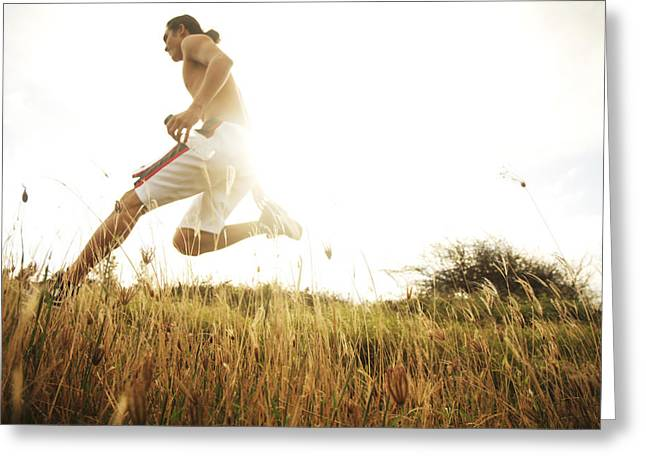 Shirtless Greeting Cards - Outdoor Jogging II Greeting Card by Brandon Tabiolo - Printscapes