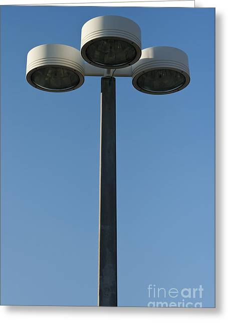 Night Lamp Greeting Cards - Outdoor lamp post Greeting Card by Blink Images