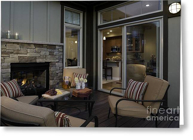 """""""sliding Doors"""" Greeting Cards - Outdoor Patio With Fireplace Greeting Card by Robert Pisano"""