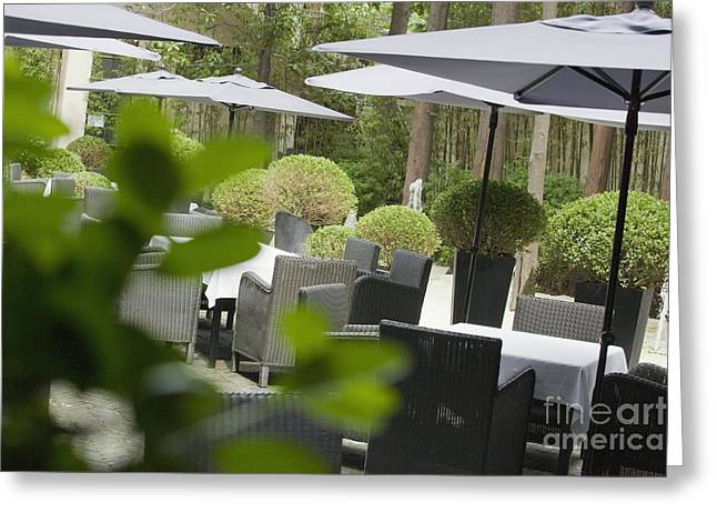 Al Fresco Greeting Cards - Outdoor Restaurant Seating Greeting Card by Shannon Fagan