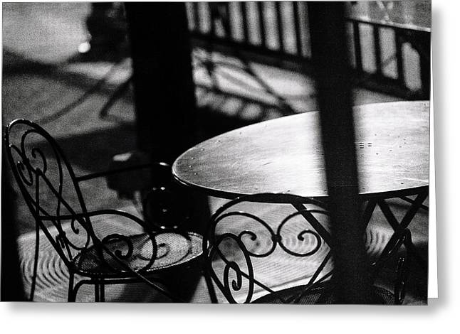 Film Noir Greeting Cards - Outdoor Seating Greeting Card by Vicki Jauron