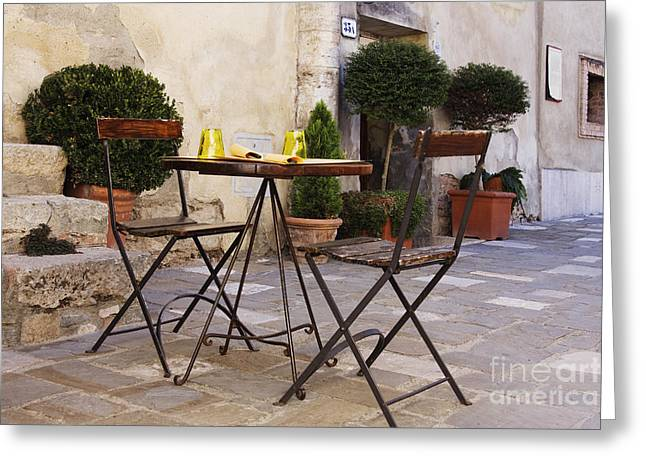 Al Fresco Greeting Cards - Outdoor Table and Chairs Greeting Card by Jeremy Woodhouse