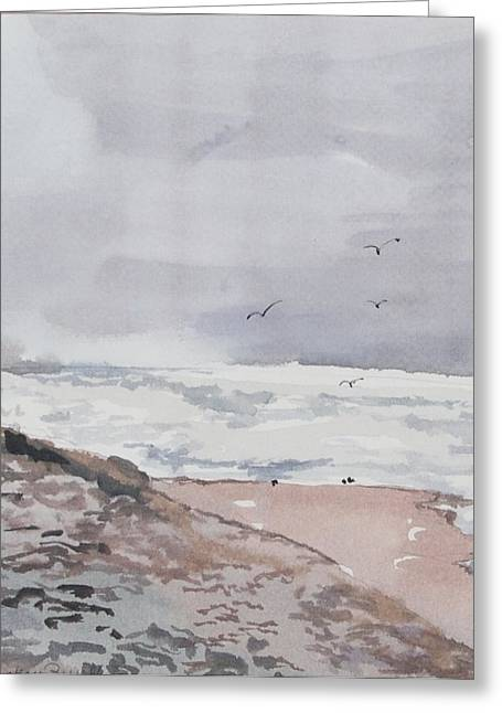 Sand Dunes Paintings Greeting Cards - Outer banks birds Greeting Card by Mickey Bissell