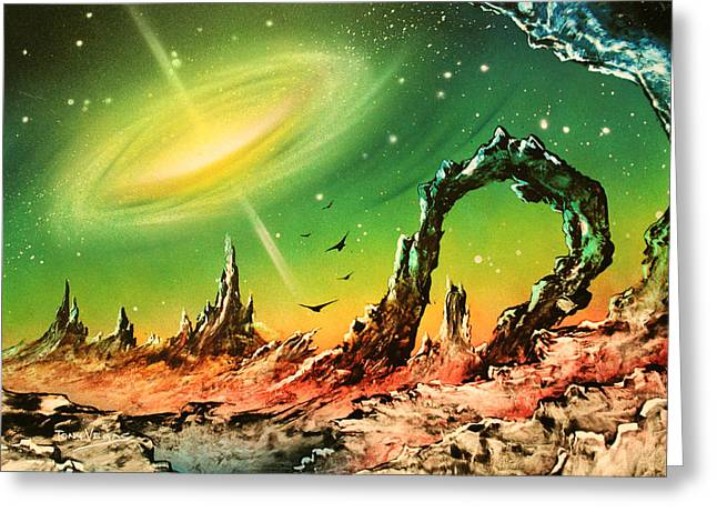 Outer Space Paintings Greeting Cards - Outer Eye Galaxy Greeting Card by Tony Vegas
