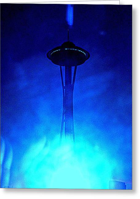 Seattle Landmarks Greeting Cards - Outer Space Needle Cold Greeting Card by Randall Weidner