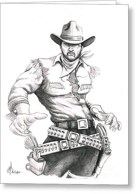 Cowboy Pencil Drawings Greeting Cards - Outlaw Greeting Card by Murphy Elliott