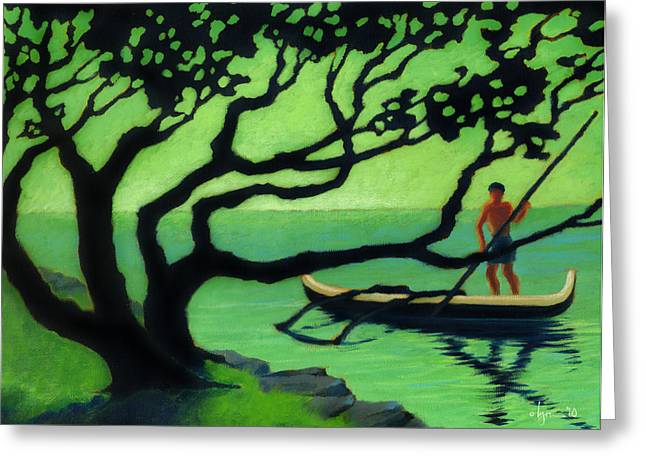 Canoe Paintings Greeting Cards - Outrigger Greeting Card by Angela Treat Lyon
