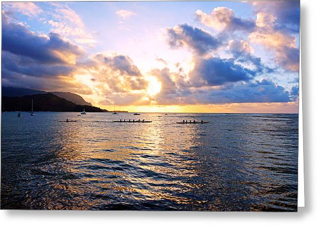 Kevin W. Smith Greeting Cards - Outrigger Canoes Hanalei Bay Kauai Greeting Card by Kevin Smith