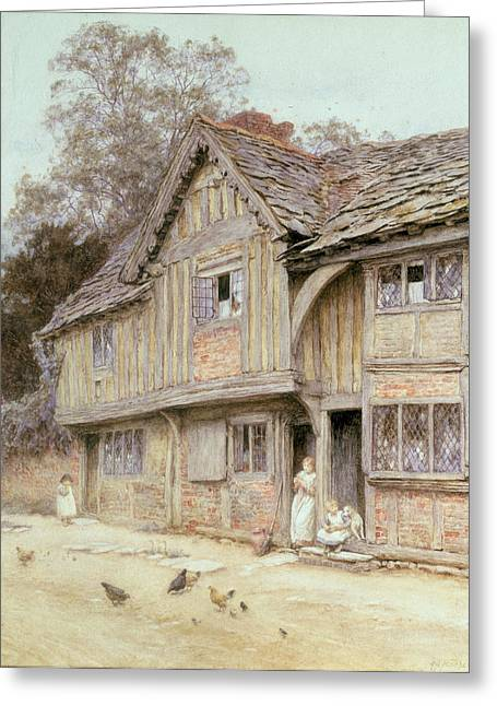 Wooden House Greeting Cards - Outside a Timbered Cottage Greeting Card by Helen Allingham
