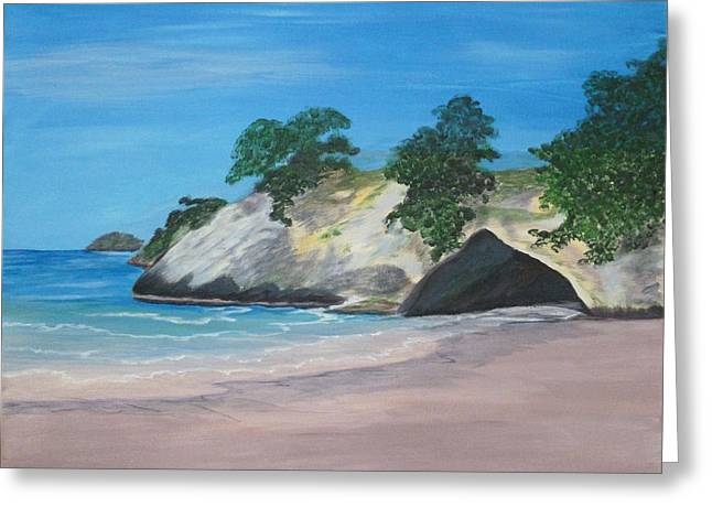 Cathedral Rock Greeting Cards - Outside Cathedral Cove Greeting Card by Nancy Nuce