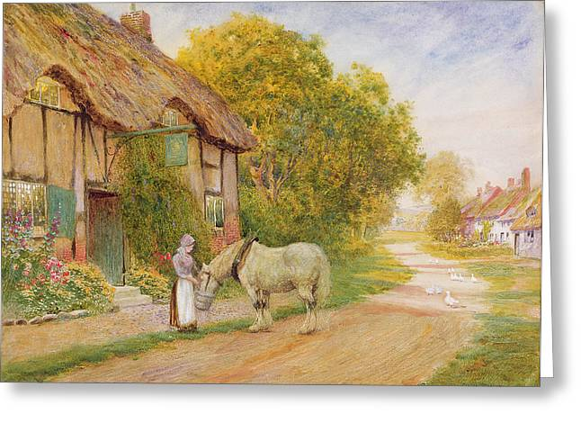 Arthur Strachan Greeting Cards - Outside the Village Inn Greeting Card by Arthur Claude Strachan