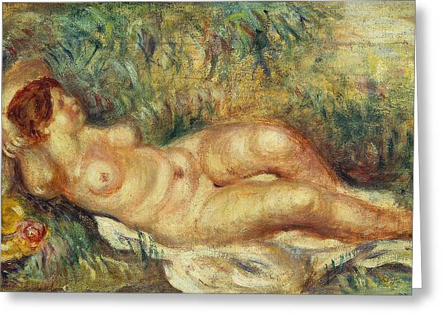 Outstretched Arm Paintings Greeting Cards - Outstretched Nude Greeting Card by Pierre Auguste Renoir