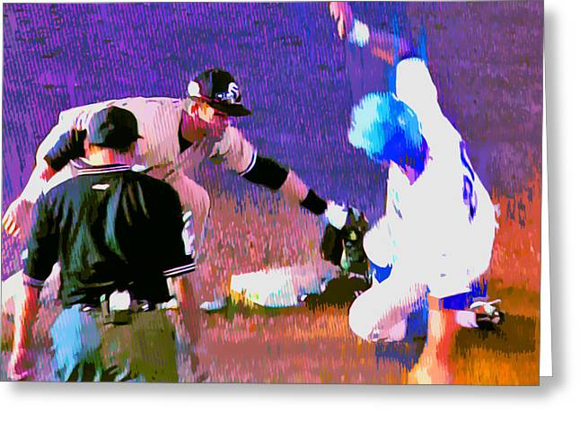 Abstract Baseball Greeting Cards - Outta There Greeting Card by Stephen Anderson