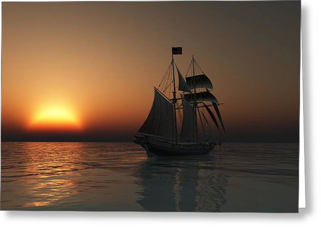 Schooner Digital Art Greeting Cards - Outward Bound Greeting Card by Timothy McPherson