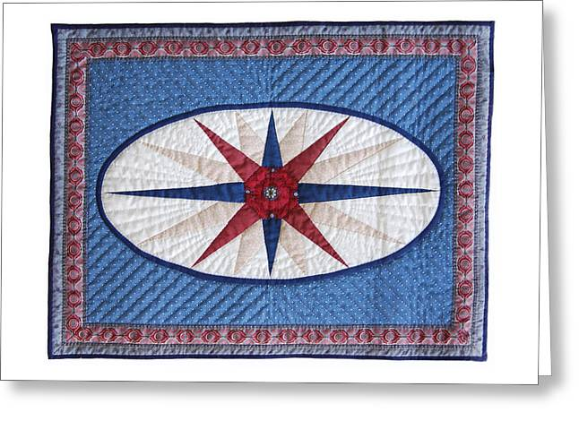 King Tapestries - Textiles Greeting Cards - Oval Compass Greeting Card by Deborah King