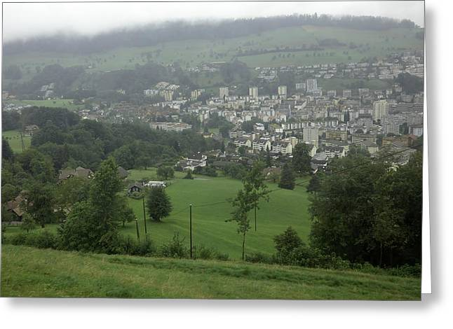 Ovehead View Of Houses From The Gondola Starting At Kriens In Switzerland Greeting Card by Ashish Agarwal