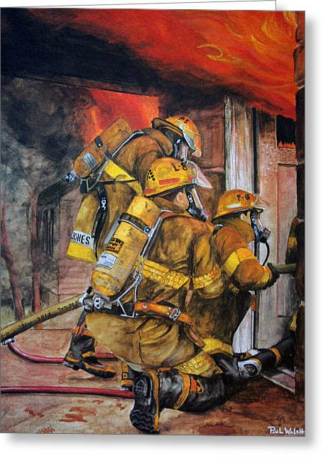 Fire Fighter Greeting Cards - Over Head Heat Greeting Card by Paul Walsh