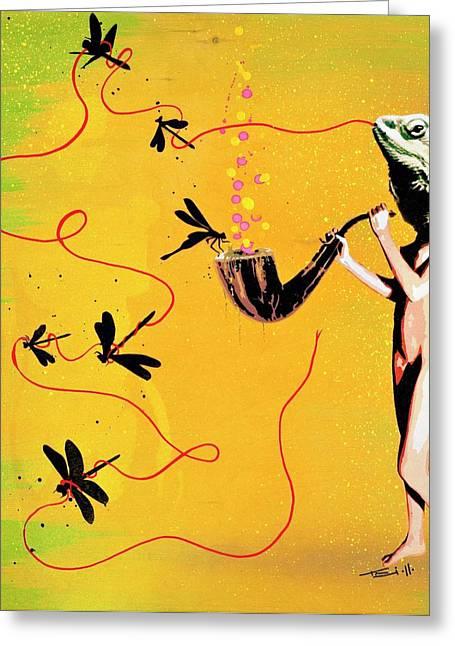 Lizard Head Greeting Cards - Over Indulge Greeting Card by Iosua Tai Taeoalii