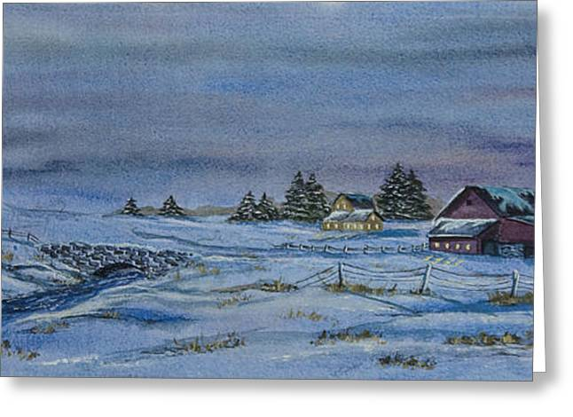 New England Snow Scene Paintings Greeting Cards - Over The Bridge And Through The Snow Greeting Card by Charlotte Blanchard