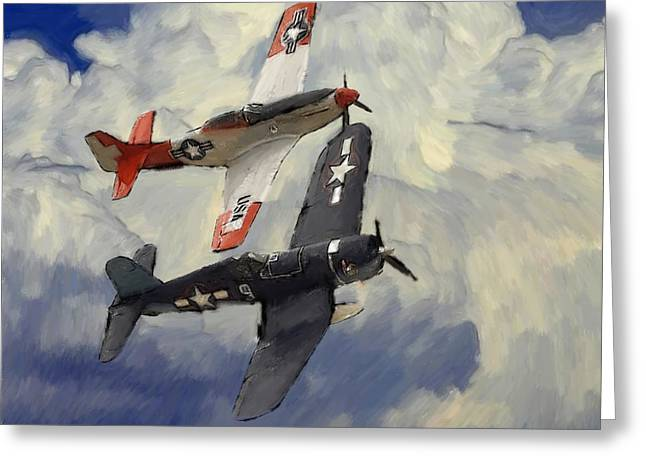Military Airplanes Greeting Cards - Over the Clouds 2 Pastel Greeting Card by Stefan Kuhn