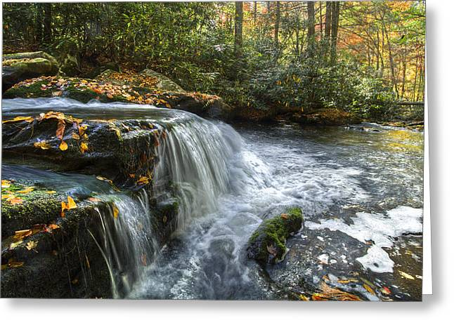 Green Cherokee Greeting Cards - Over The Edge Greeting Card by Debra and Dave Vanderlaan