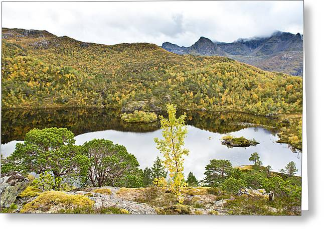 Sortland Greeting Cards - Over the lake Greeting Card by Frank Olsen