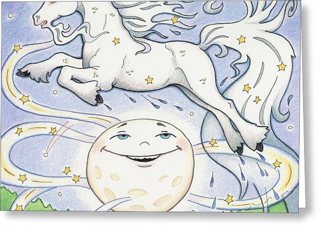 Childrens Story Book Greeting Cards - Over The Moon Waterhorse Greeting Card by Amy S Turner