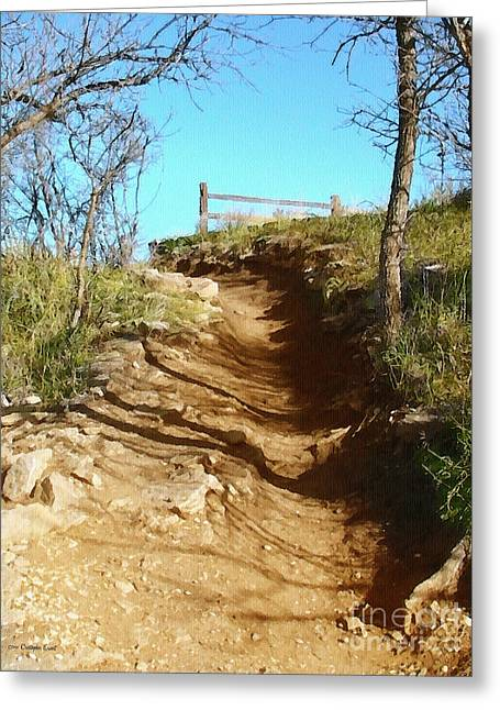 Walk Paths Digital Art Greeting Cards - Over the Ridge Greeting Card by Cristophers Dream Artistry