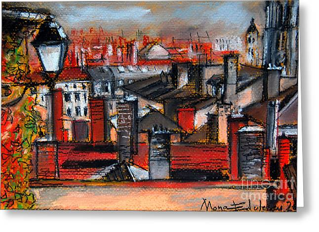 Urban Buildings Pastels Greeting Cards - Over The Roofs Greeting Card by Mona Edulesco
