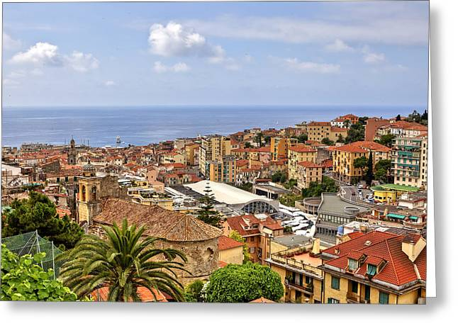 Over the roofs of Sanremo Greeting Card by Joana Kruse