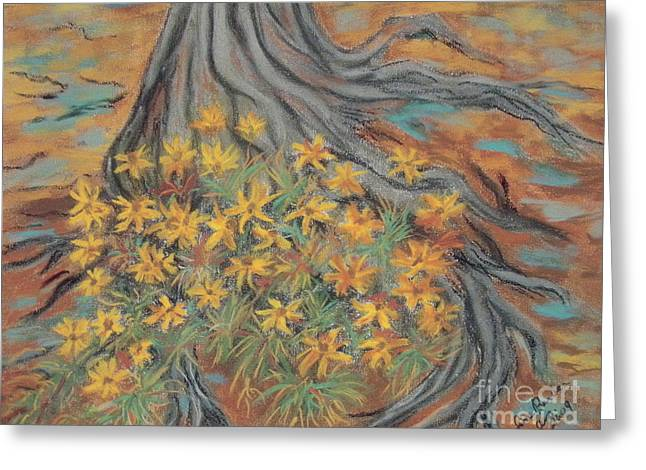Tree Roots Pastels Greeting Cards - Over the Roots Greeting Card by Jim Barber Hove