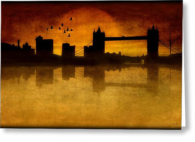 Sunset Framed Prints Digital Art Greeting Cards - Over The Tower Bridge Greeting Card by Tom York Images