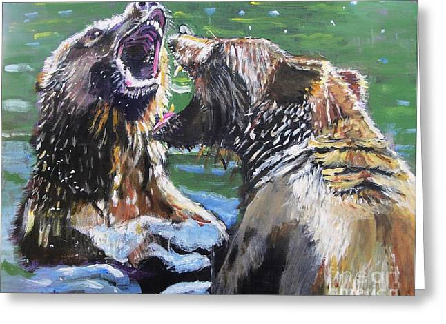 Wild Animals Greeting Cards - Overbearing Greeting Card by Judy Kay