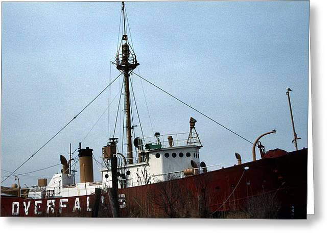 Overfalls Lightship Greeting Card by Skip Willits