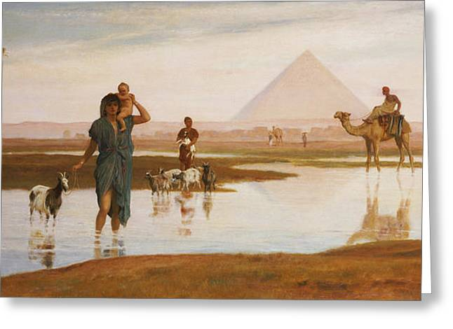 Pyramid Paintings Greeting Cards - Overflow of the Nile Greeting Card by Frederick Goodall
