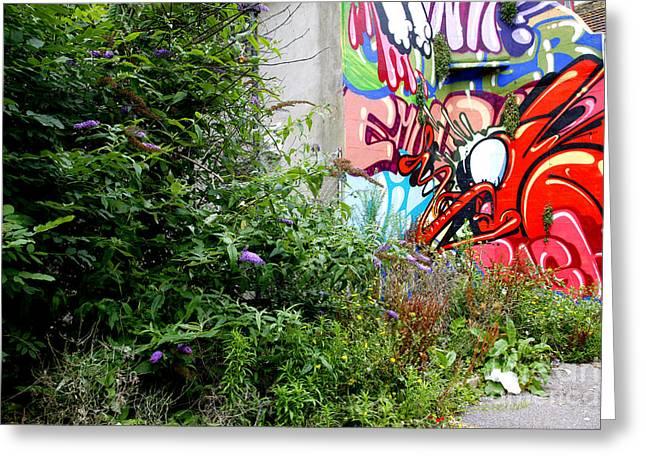 Teen Graffiti Greeting Cards - Overgrown graffiti Greeting Card by Richard Thomas
