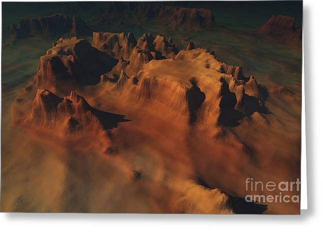 Creativity Desert Greeting Cards - Overhead View Of A Desert Mountain Worn Greeting Card by Corey Ford
