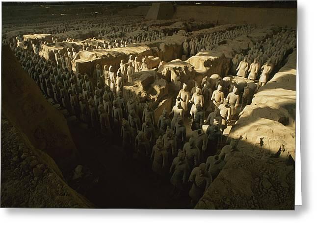Terra Cotta Sculpture Greeting Cards - Overhead View Of The Terra-cotta Greeting Card by O. Louis Mazzatenta