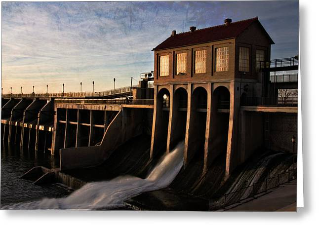 Building Gate Greeting Cards - Overholser Dam Greeting Card by Lana Trussell