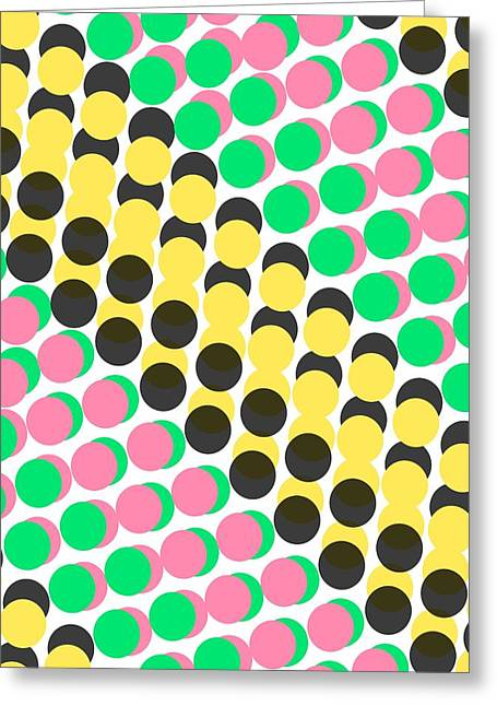 Circular Circle Circles Greeting Cards - Overlayed Dots Greeting Card by Louisa Knight