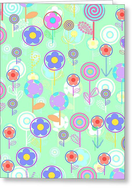 Bold Style Greeting Cards - Overlayer Flowers  Greeting Card by Louisa Knight