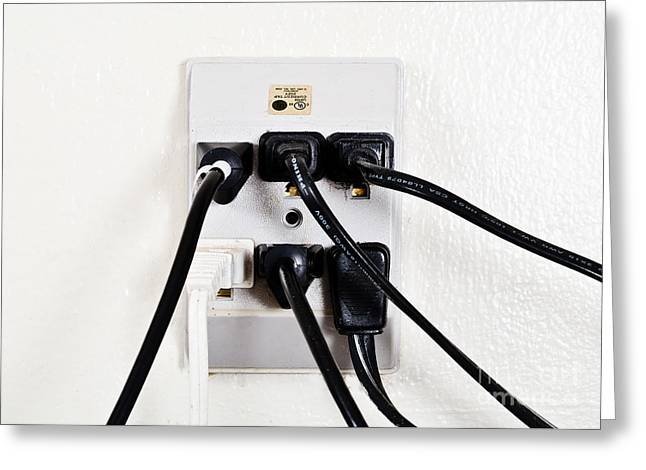 Electrical Plug Greeting Cards - Overloaded Outlet Greeting Card by Photo Researchers