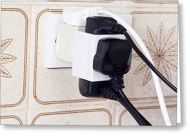Electrical Plug Greeting Cards - Overloaded Plug Socket Greeting Card by Andrew Lambert Photography