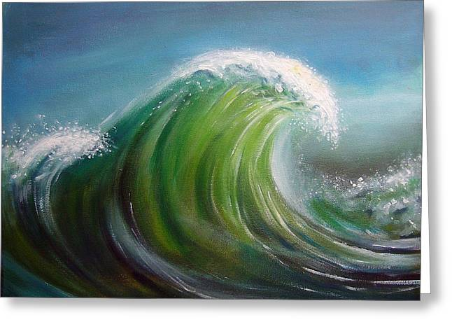 Blue Green Wave Greeting Cards - Overpowered Greeting Card by Arie Van der Wijst