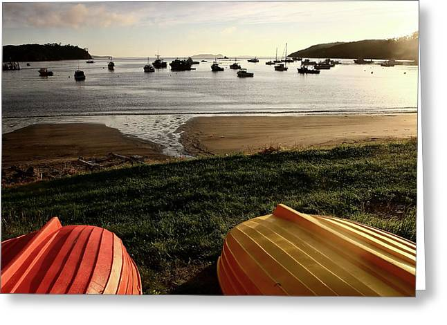 Overturn Greeting Cards - Overturned boats on shore of harbor Greeting Card by Mark Duffy