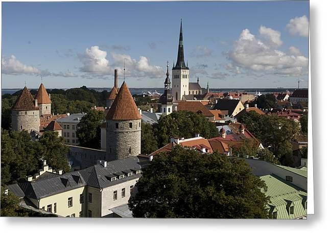 Tallinn Greeting Cards - Overview Of Old Town, Medieval Greeting Card by Keenpress