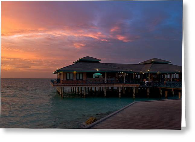 Gorgeous Sunset Greeting Cards - Overwater Restaurant. Maldives Greeting Card by Jenny Rainbow