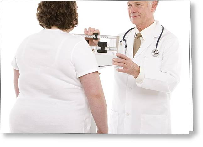 30-34 Years Greeting Cards - Overweight Woman Being Weighed Greeting Card by